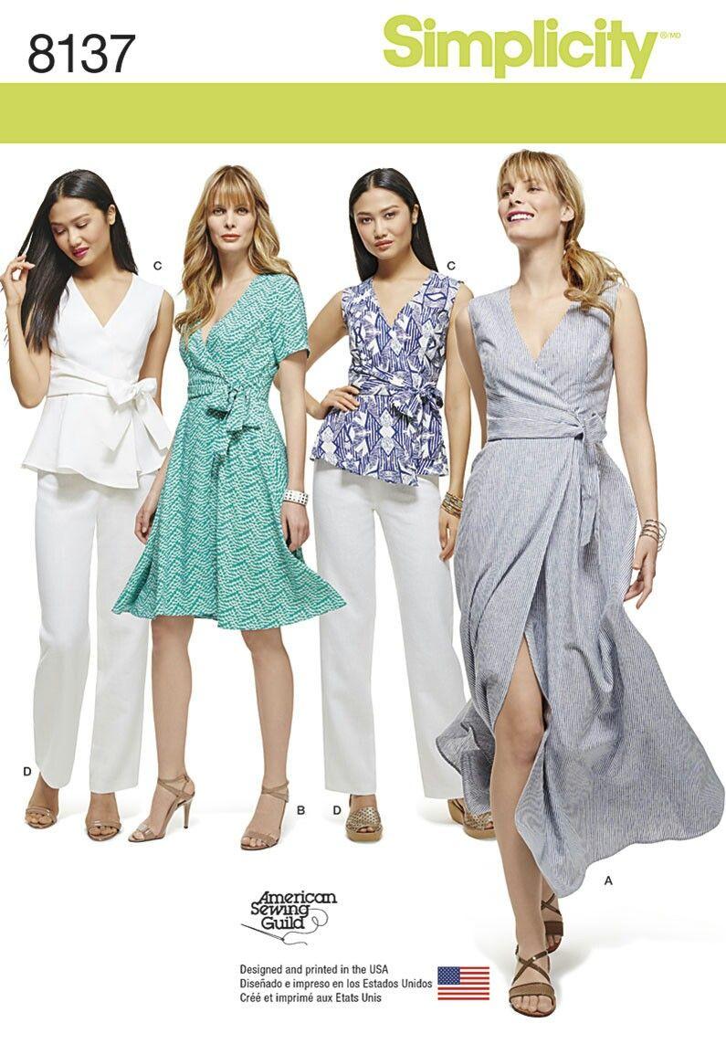 Simplicity 8137 Various Wrap Dresses | Sewing patterns | Pinterest ...