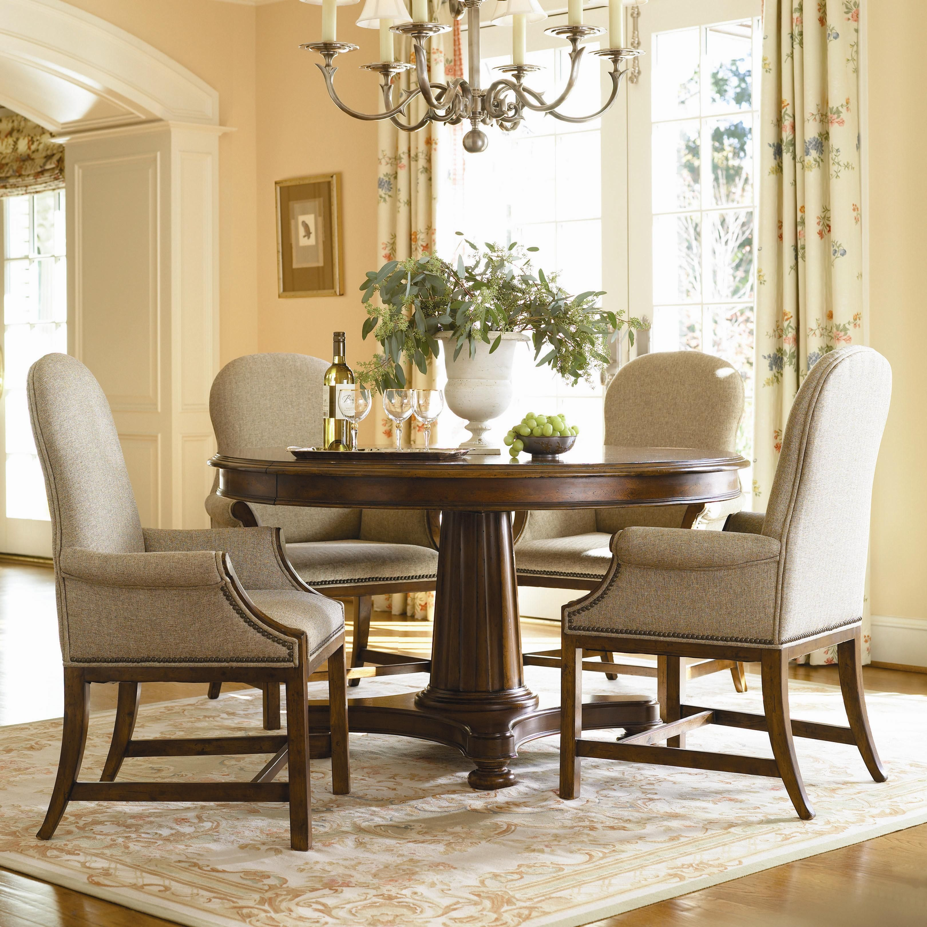 upholstered dining room arm chairs | Governor's Place Adjustable Height Round Dining Table With ...