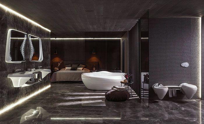 moderne badezimmer, schwarze marmorfliesen, runde freistehende