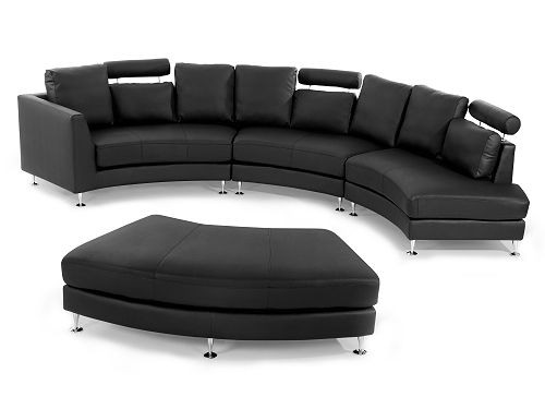 Ronde bank u leren bank u leren sofa u lederen bank in zwart
