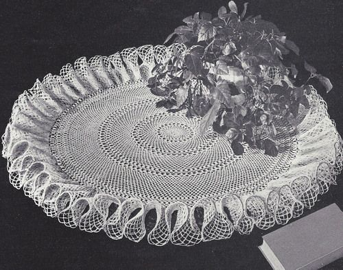 Vintage Crochet PATTERN to make Large Table Cover Ruffled Doily Mat ...
