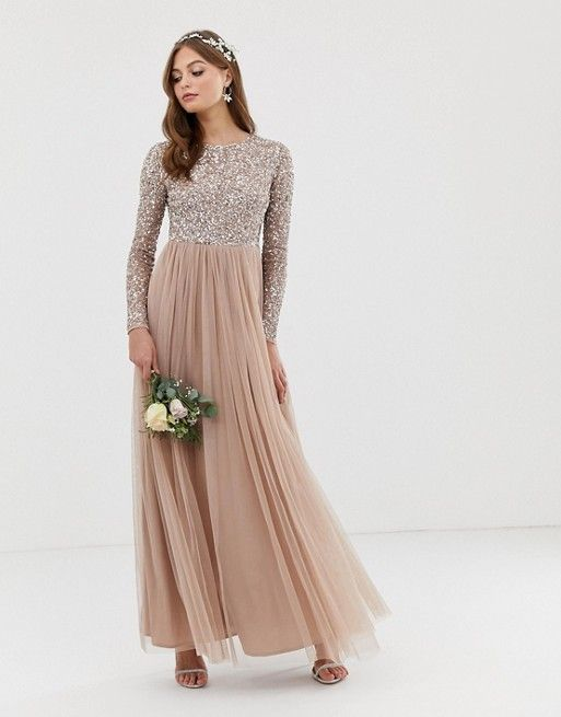 Maya Bridesmaid long sleeve maxi tulle dress with tonal delicate sequins in taupe blush -   17 dress Bridesmaid tulle ideas