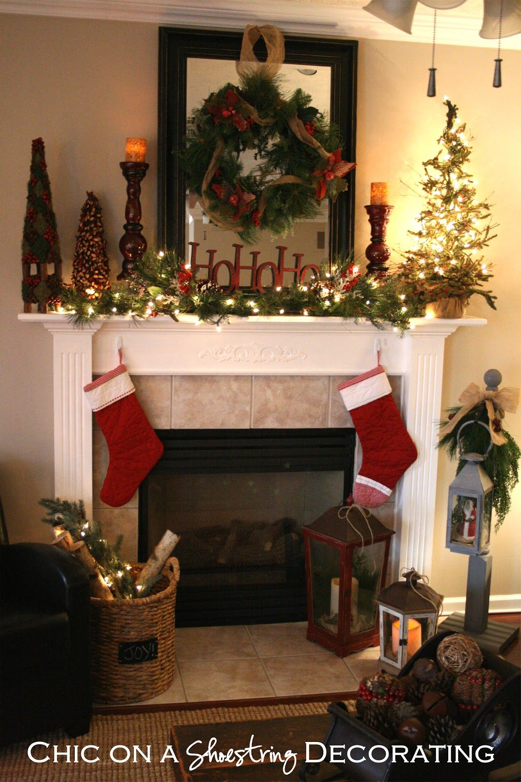 christmas mantel decorating ideas decided i could pull off a rustic christmas mantel on the cheap - Christmas Mantel Decorating Ideas