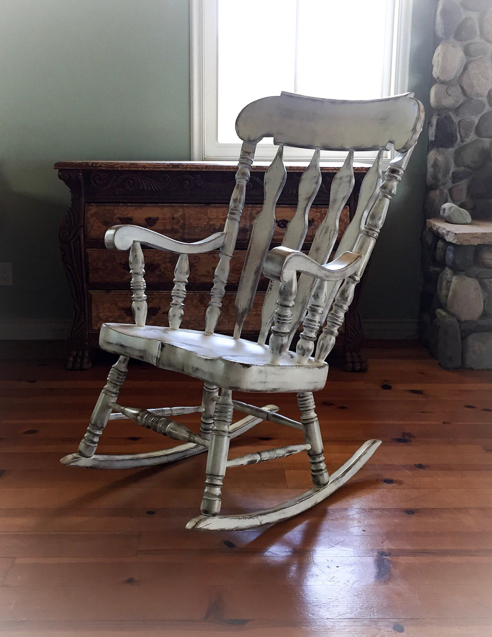 Nursery Wooden Rocking Chair Oversized Rocking Chair Shabby Chic Rocker Painted Furnit