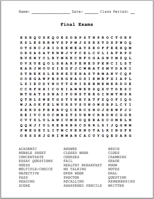 Final Exams Word Search Puzzle Free To Print Pdf File For Grades