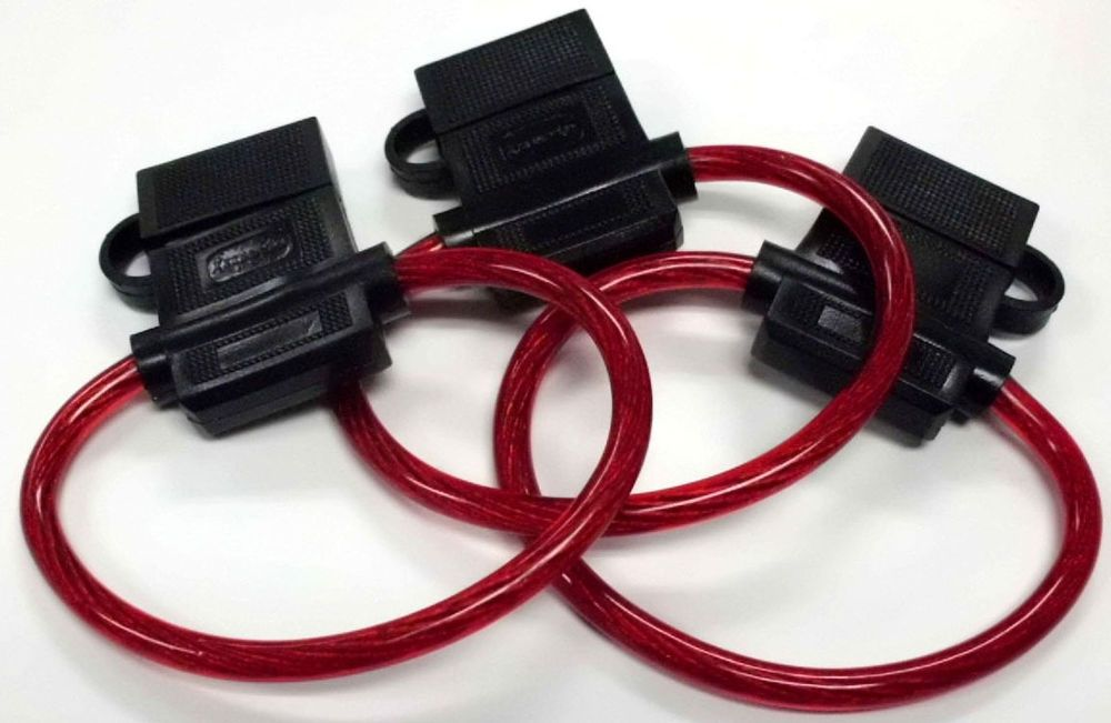 3 PACK 10 GA ATC In-Line Fuse Holder, Translucent Red Power Wire ...
