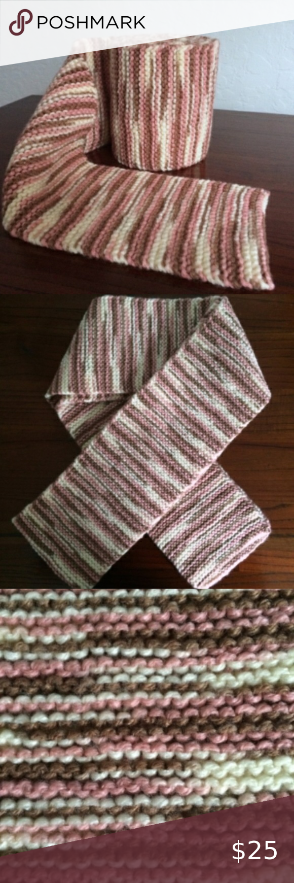 Handmade Pink and Brown Stripe Knit Scarf
