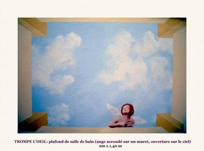 TROMPE Lu0027OEIL plafond du0027une salle de bain - Design, 140x200 cm - plafond salle de bain