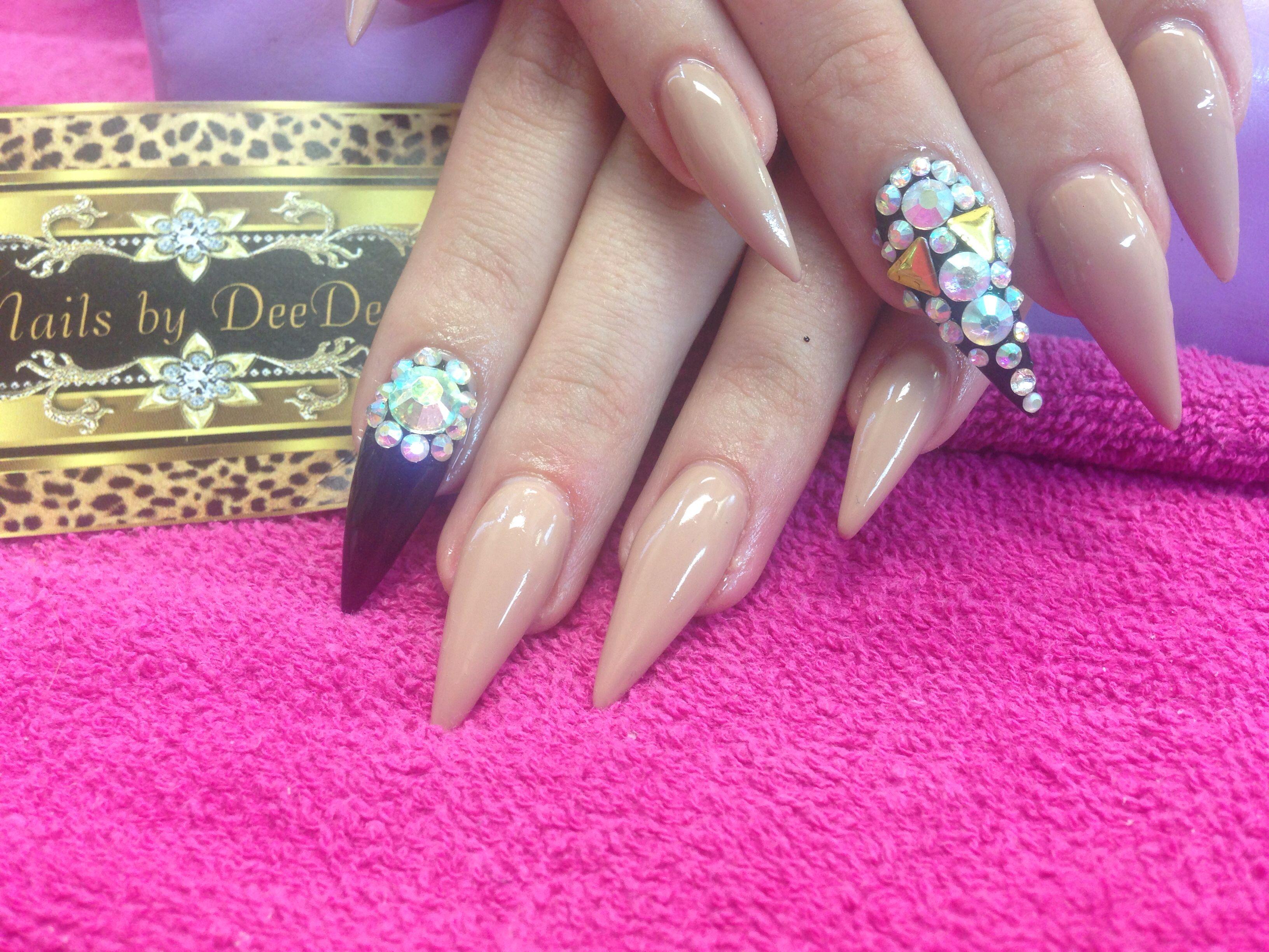 Stiletto nails using Titanium Gel & One Step Crystalac   Nails by ...