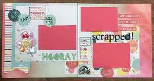 A great scrapbook layout for any party!  Specifically designed with a scrapbook party in mind.  Wording says: Life should not only be lived it should be scrapped!    Visit Scrap & Bean.com for lots of scrapbooking kits.