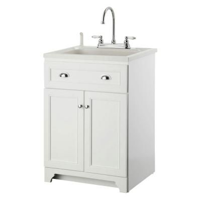 Laundry Vanity in White and ABS Sink in White and Faucet Kit. Foremost Keats 24 in  Laundry Vanity in White and ABS Sink in