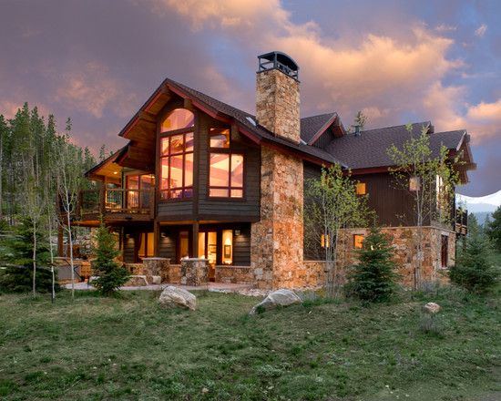 Creative Mountain Home Exterior With Inspiring Ideas: Awesome Mountain Homes  Exteriors Design Stone Fireplace Chimney