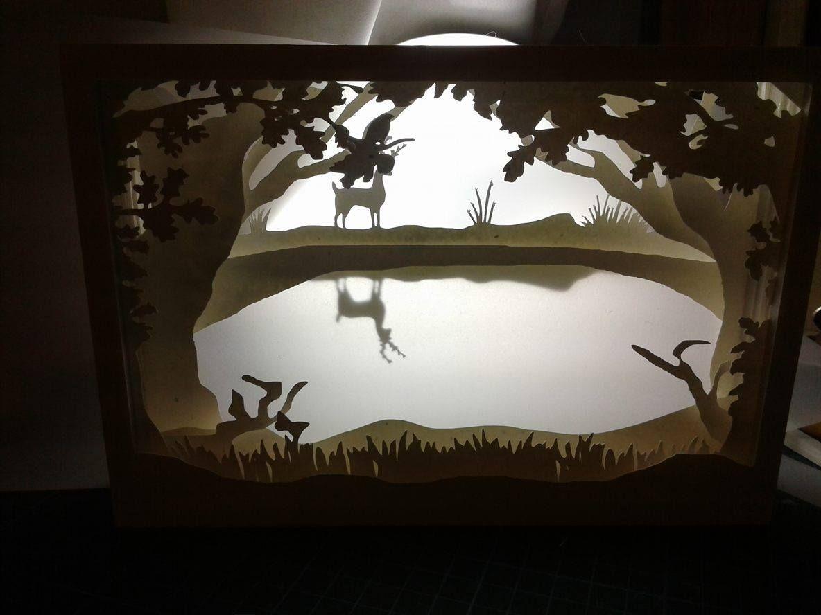 Cuadro De Sombra 3d Con Luz De Un Bosque Cuadros Sombra Luces