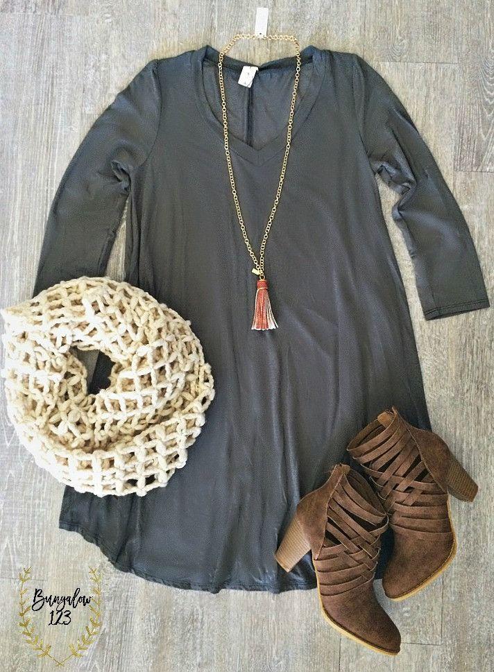 B123 Luxe Bamboo 3/4 Sleeve V-Neck Tunic Dress - Gray