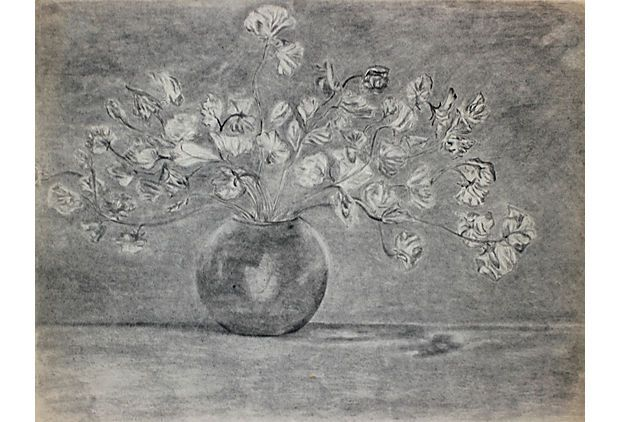 """Charcoal floral still life 24""""x18"""" 195 dollars, sold ..."""