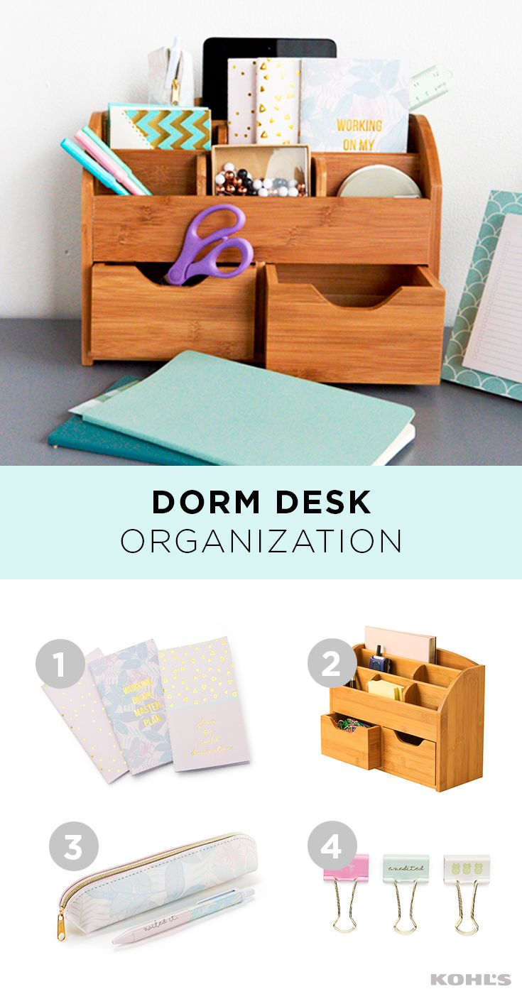 An Organized Desk Is A Happy Desk And A Happy Desk Makes For A Happy Student Start The Year Off Organized Dorm Desk Organization Desk Organization Dorm Desk