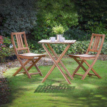 Plant Theatre Folding Hardwood Bistro Set, Garden Patio Table ...