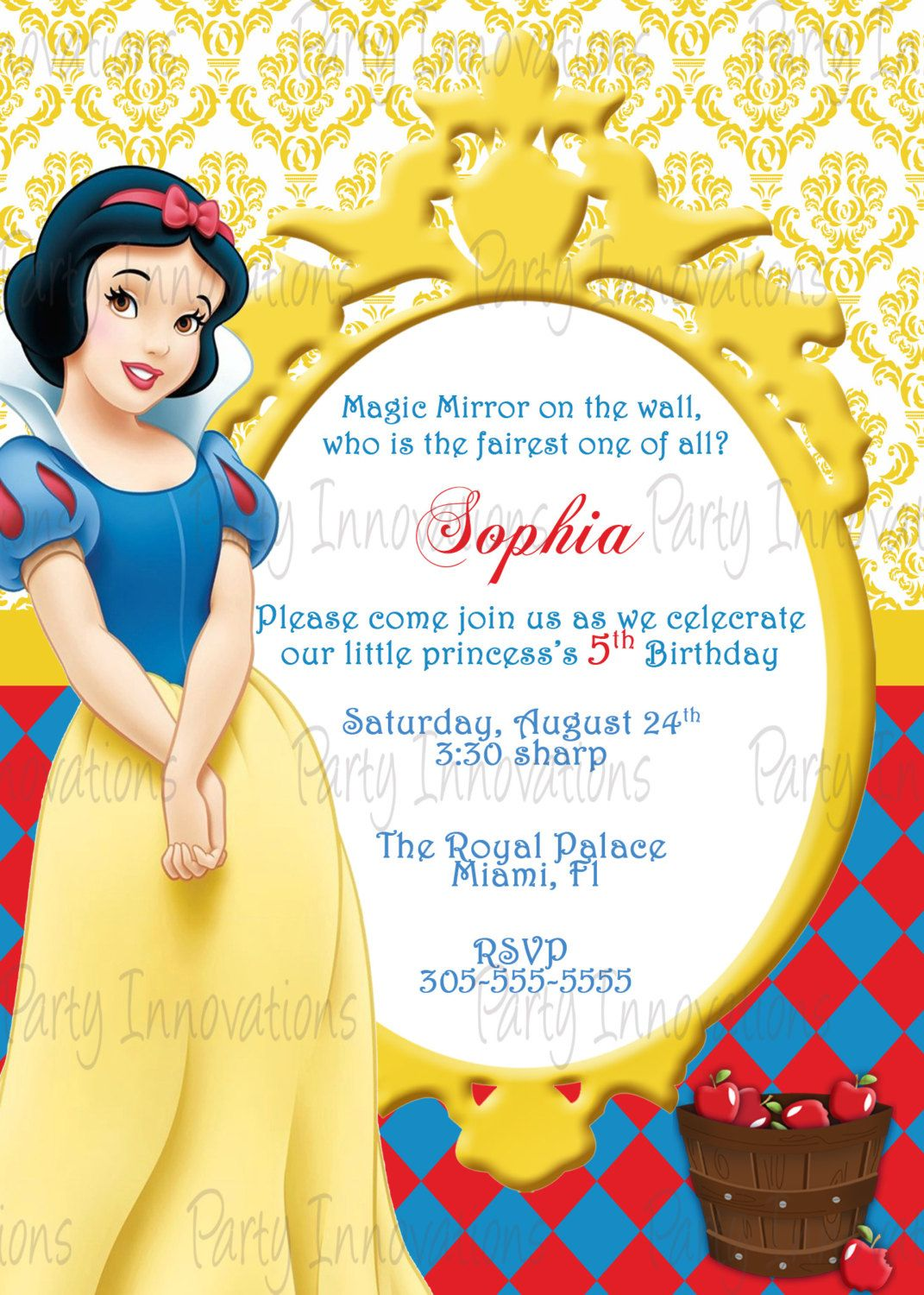snow white invitations birthday party | snow white printable, Birthday invitations