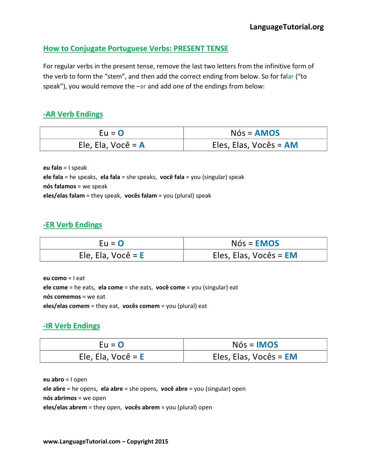 Free Portuguese Worksheets