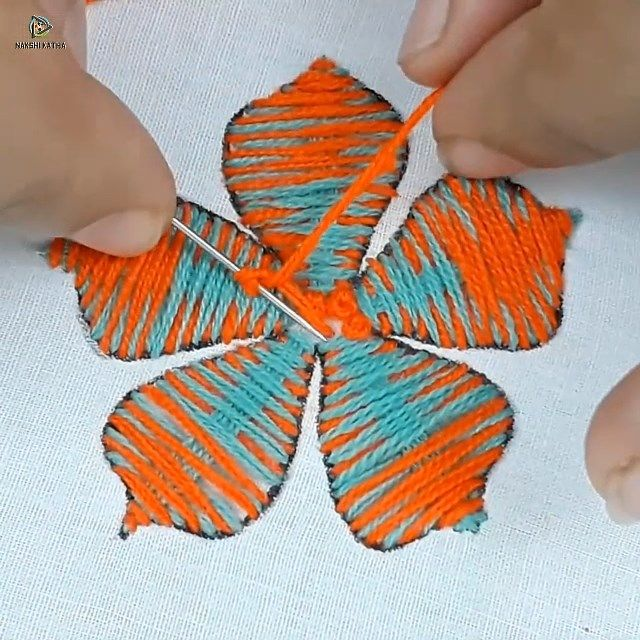 Photo of hand embroidery flower design