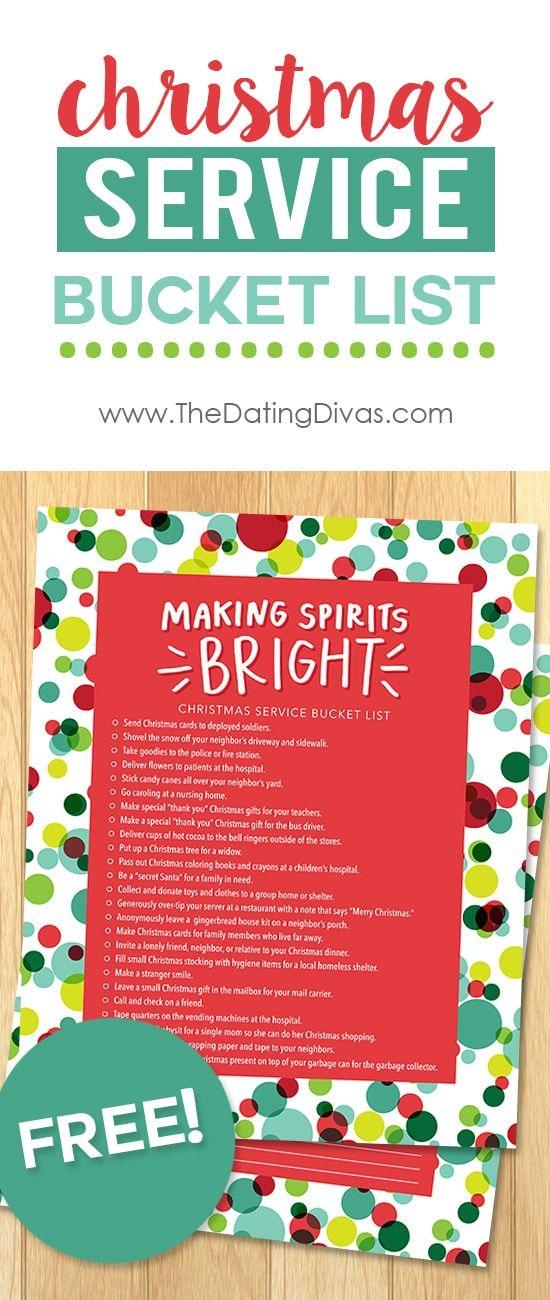 Printable Service Bucket Lists Christmas service, Free printable - free printable christmas lists