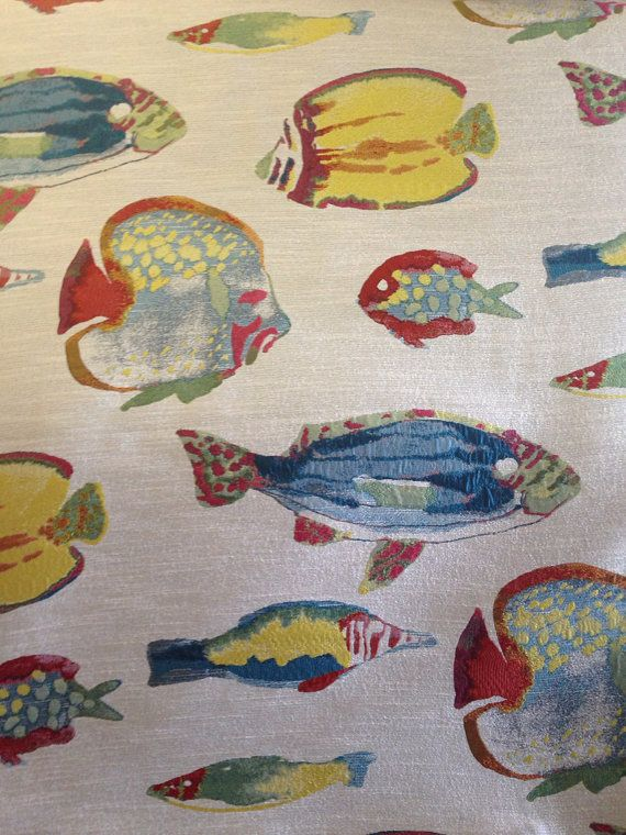 Neon Fish Upholstery Fabric By The Yard Beach Decor Coastal