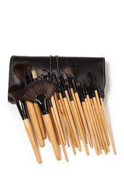 c64432620b5b 24-Piece Professional Makeup Brush Set with Vegan Leather Travel Case - Wood
