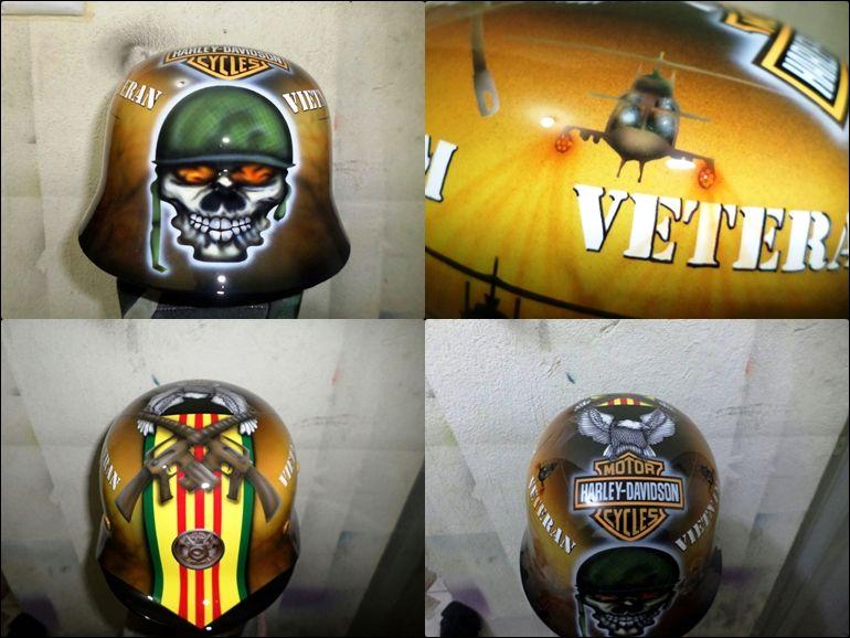 Capacete estilo Guerra com pintura mão livre tema veteranos Vietnam