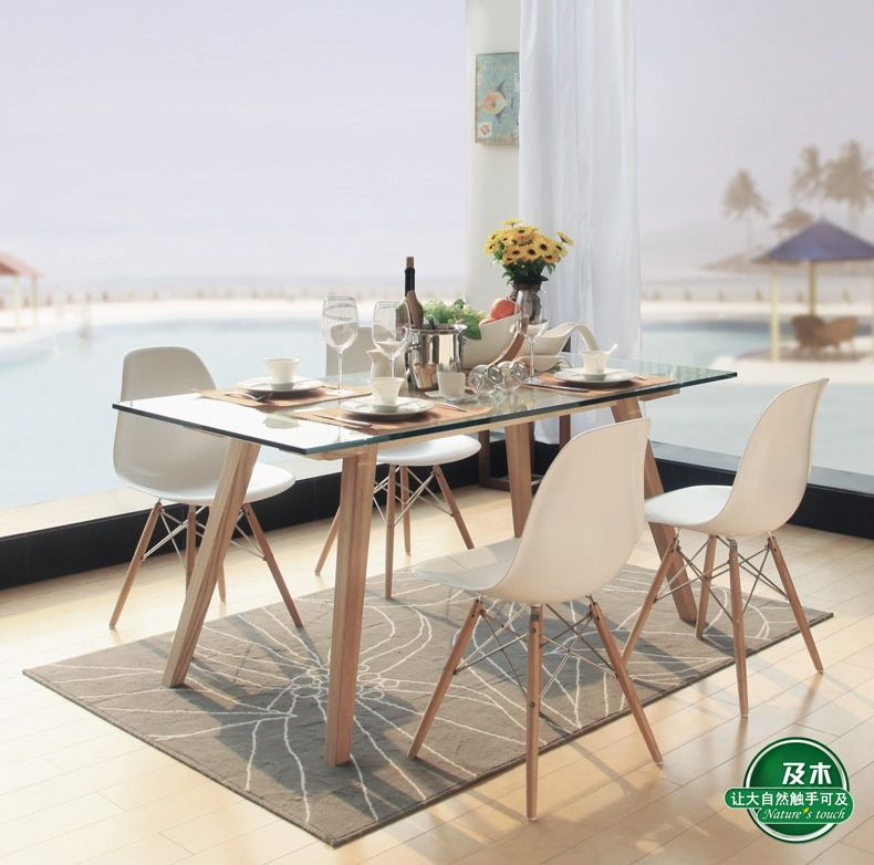 Modern Minimalist Scandinavian Furniture And Wood Rectangular Glass Dining Table Solid Wood Dini Glass Dining
