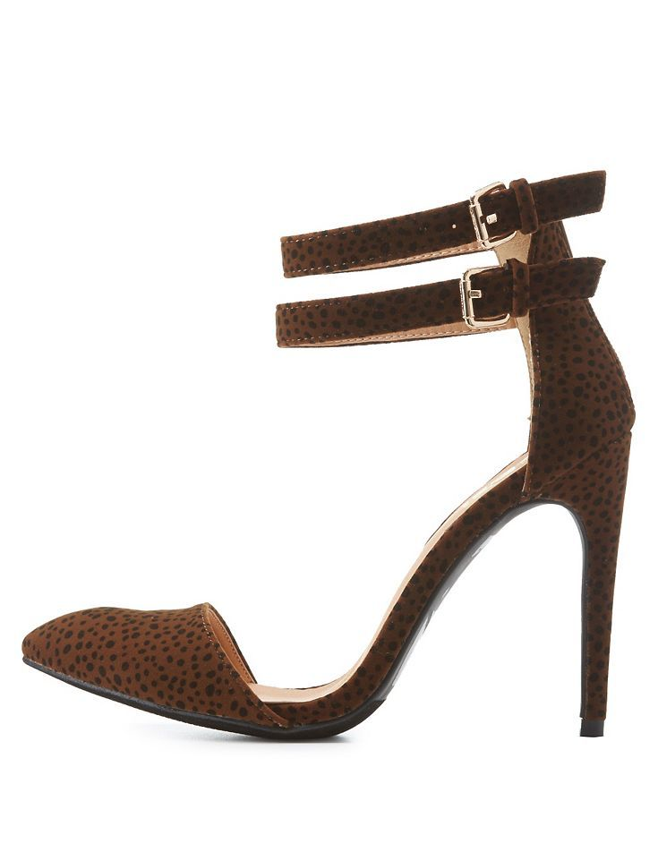 32ee7e9a2fb9 Classic Leopard Double Ankle Strap Pointed Toe Pumps by Fahrenheit at  Charlotte Russe