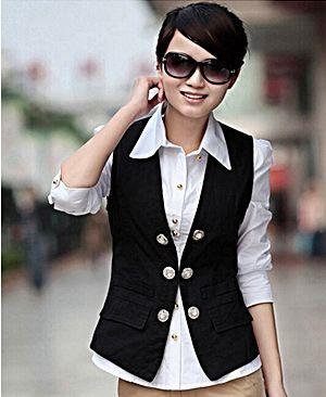 Black suit vest for women. http://www.formalworkattire.com/a-guide ...