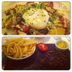 Starter; Smoked Bacon & Poached Egg! Main; Fillet Steak #yummy #food #brasserieblanc #instacollage
