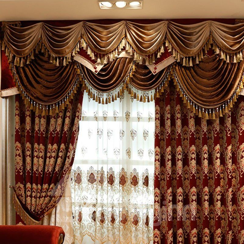 Luxury Thick Chenille Blackout Curtains Burgundy Embroidery Living Room Bedroom Curtains Made To Measure No Pillin Burgundy Curtains Curtains Blackout Curtains