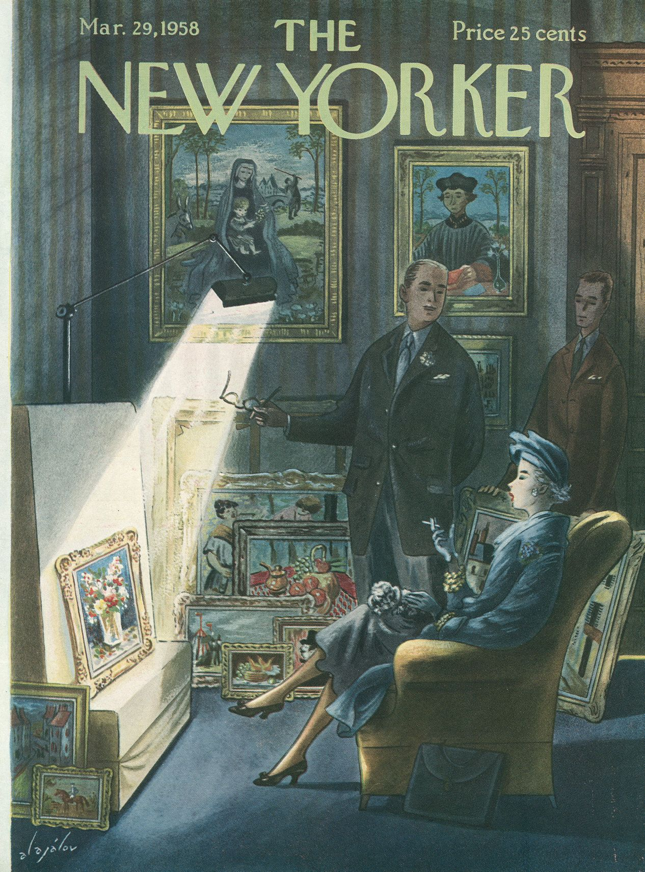 The New Yorker - Saturday, March 29, 1958 - Issue # 1728 - Vol. 34 - N° 6 - Cover by : Constantin Alajalov