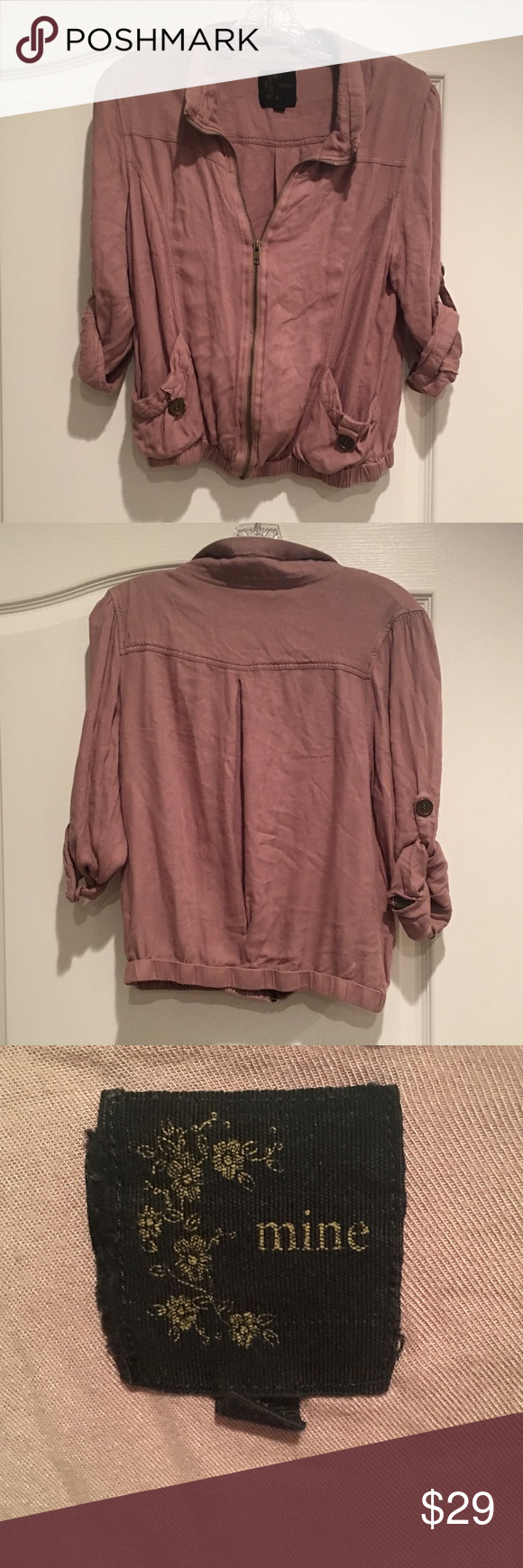 MINE Crop Jacket Mauve colored jacket with roll button sleeves (can be worn up or down) Cropped style with an elastic waist. Some wear but still very good condition. Anthropologie Jackets & Coats