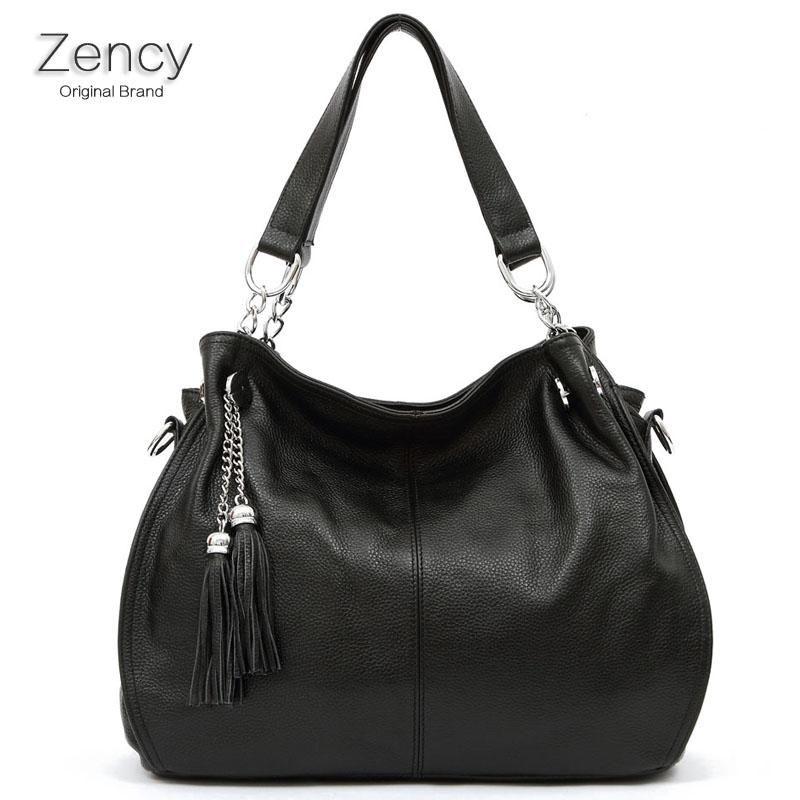 Quilted Black Genuine Leather Purse Shoulder Strap Handbag Bag Tote Hobo Satchel