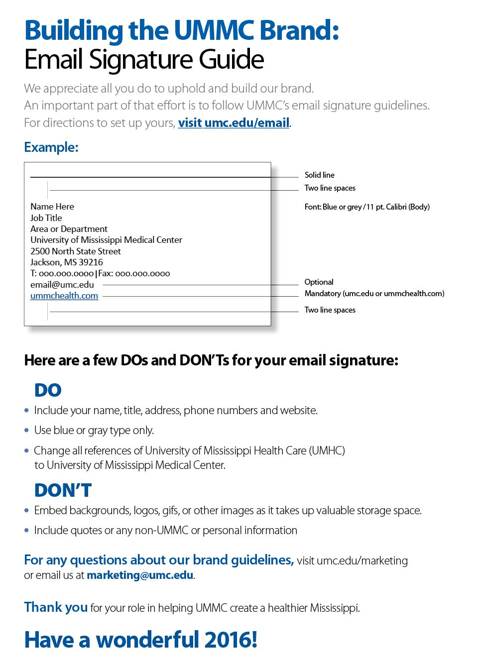 UMMC Home Email signatures, Space names, Marketing