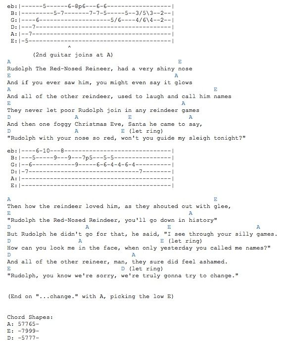 Jack Johnson\'s Rudolph Tabs | sheet music | Pinterest | Guitars and ...