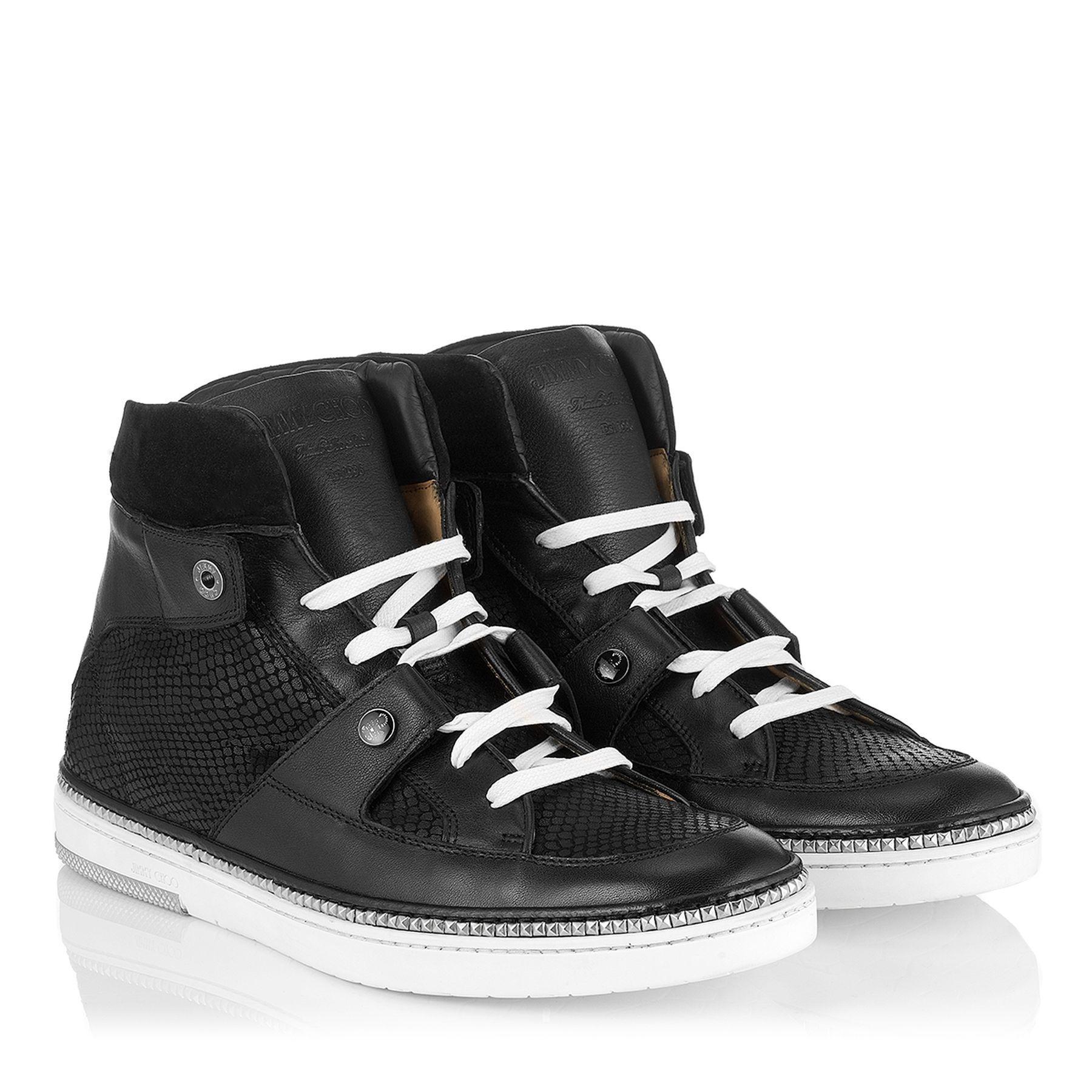 Black Viper Print Leather High Top Sneakers | Barlowe | JIMMY CHOO Shoes