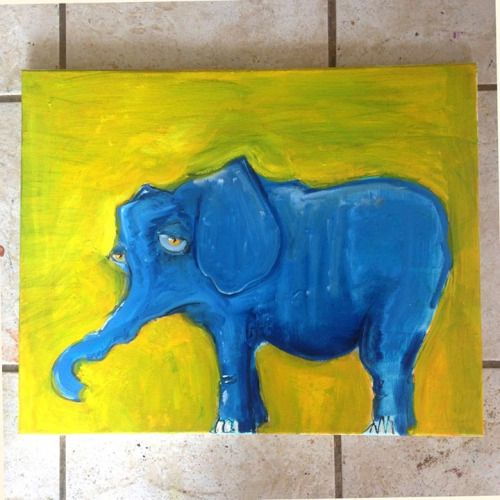 the blue yellowphant http://ift.tt/1gweXGt Art watercolor acrylic doodle art painting artistsoftumblr watercolor