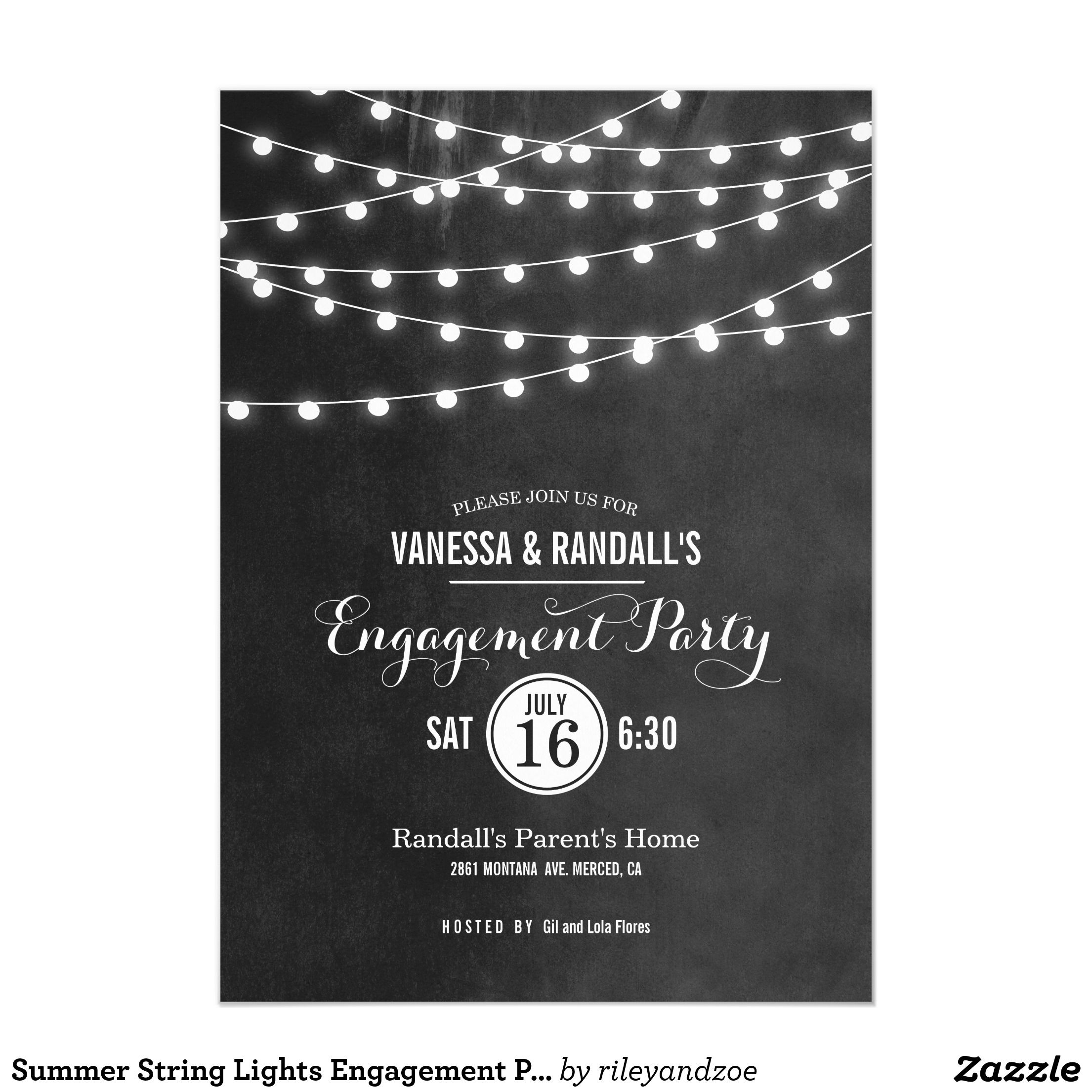 Summer String Lights Engagement Party Invitation My True Likes