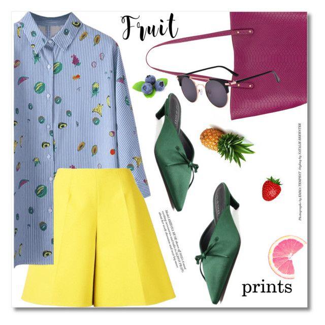 """fruit prints"" by svijetlana ❤ liked on Polyvore featuring Delpozo, GiGi New York, fruitprints and zaful"