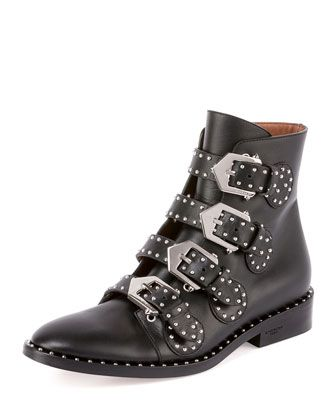 Studded Leather Ankle Boot, Black by Givenchy at Neiman Marcus.