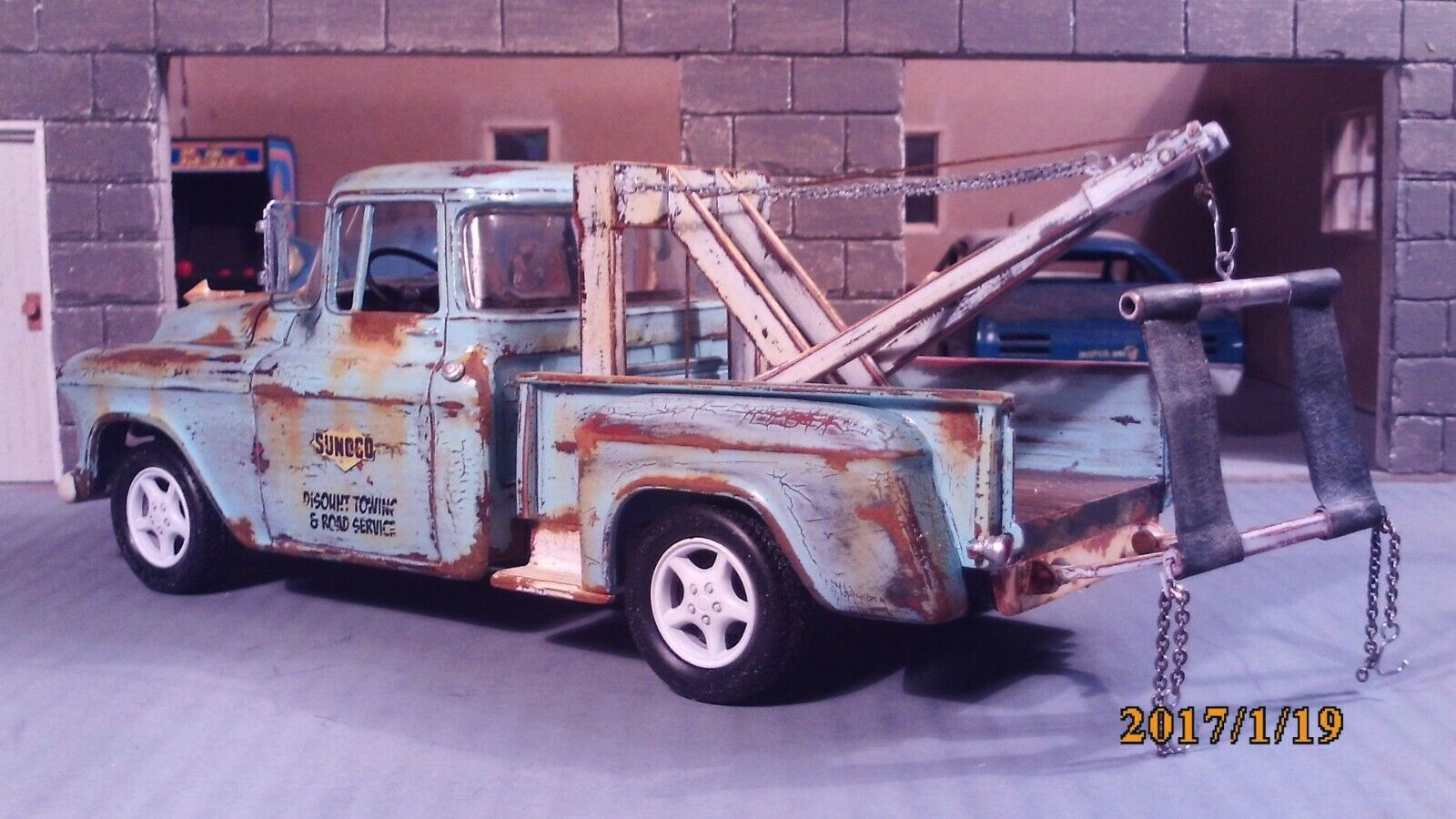 Built 57 Chevy Tow Truck Sunoco Gas Wrecker Weathered Rat Rod