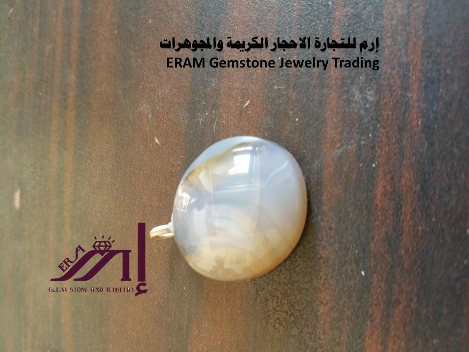 قلادة نسائي عقيق يمني ازرق سماوي مع تموج للون البني طبيعي 100 Agate Gemstone Jewelry Jewelry Gemstones