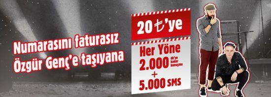 Numaranı Özgür Genç'e taşı, Her Ay Her Yöne 2.000DK'ya kadar konuş, Her Yöne 5.000SMS Kazan! kampanyasının ayrıntılarına cepstil.com aracılığıyla sayfanın devamında bulabilirsiniz.