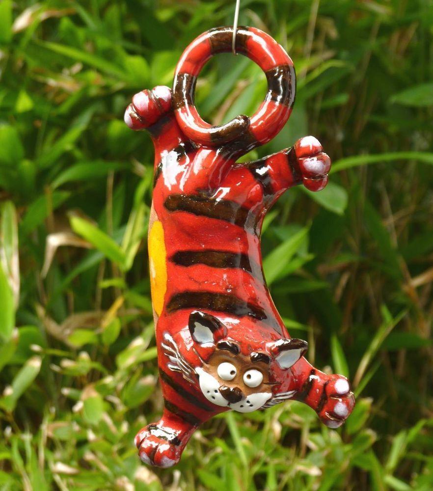 Gartenstecker Beetstecker Katze Keramik Gartendeko frostfest