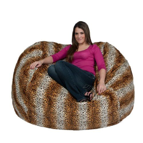 Bean Bag Chair Large Love Seat Micro Suede Leopard Animal Print By Cozy Sack