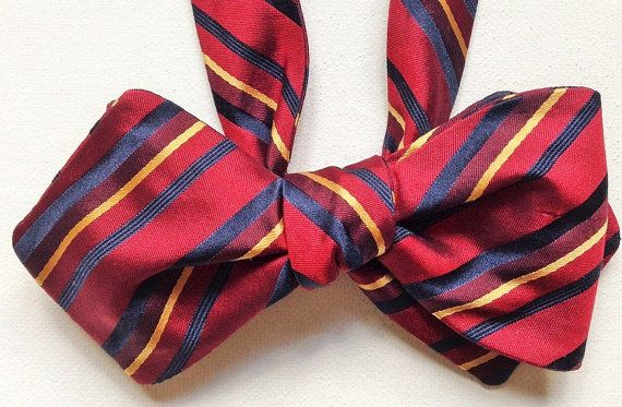 Silk Bow Tie - PREPPY Stripe in Ivy League Colors - One-of-a-Kind, Handcrafted for Men - Free Shipping