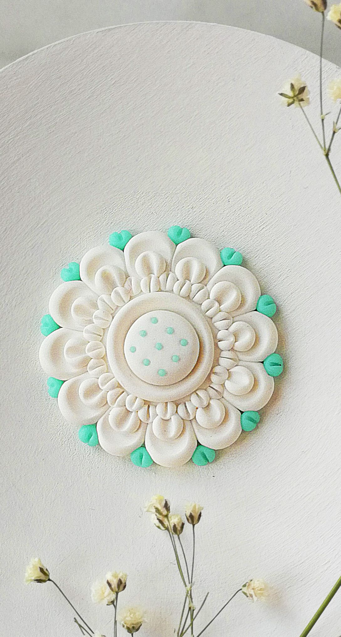 White Flower Brooch Round Pin Floral Clay Jewelry Blooming Flower